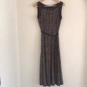 STRETCHY BROWN DRESS WITH WHITE POLKA DOTS